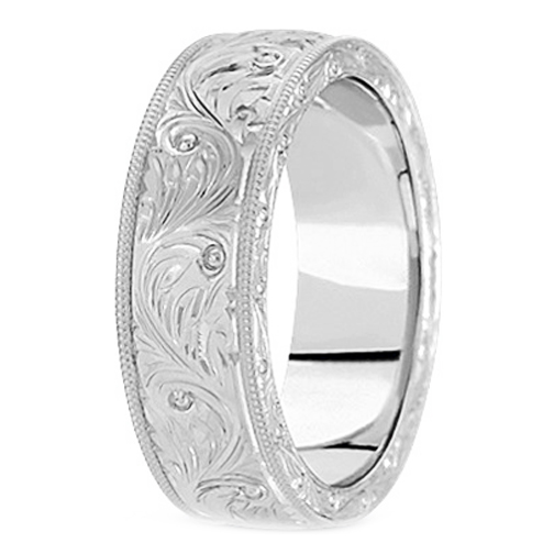 Wedding Band 14K White Gold 7 Mm Men 39 S Antique Wedding Ring