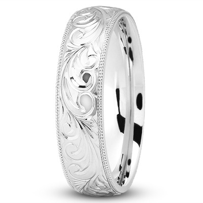 Rococo Engraved Vintage Wedding Band 5mm