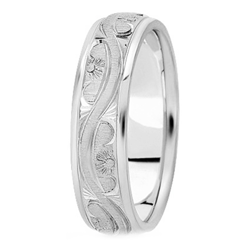 14K White Gold 5 mm Men's Antique Wedding Ring