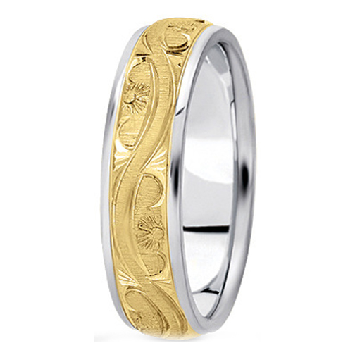 Two-Tone 14K White & Yellow Gold 5 mm Men's Antique Wedding Ring