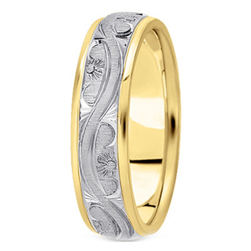 14K Yellow and White Gold 5 mm Men's Antique Wedding Ring