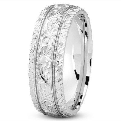 Diamond Cut Engraved Platinum Wedding Band