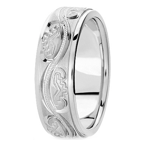 14K White Gold 6 mm Men's Antique Satin Wedding Ring
