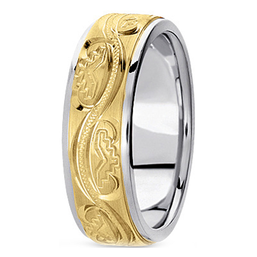 Two-Tone 14K White & Yellow Gold 6 mm Men's Antique Satin Wedding Ring