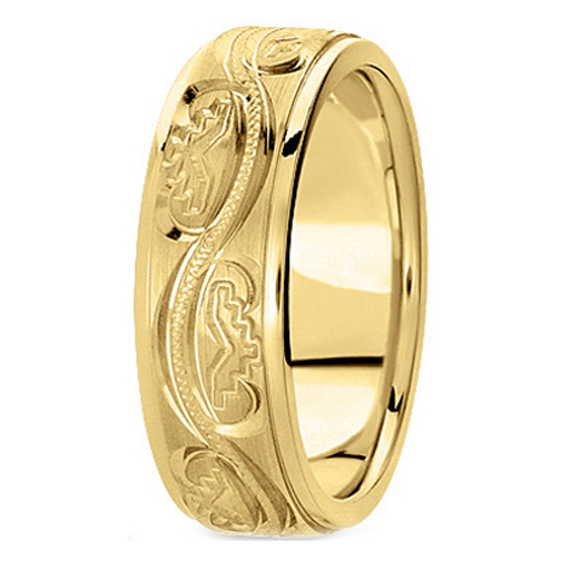 14K Yellow Gold 6 mm Men's Antique Satin Wedding Ring
