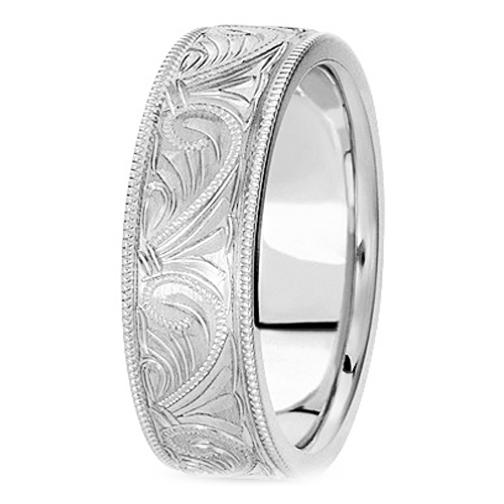 14k White Gold 6 Mm Men S Milligrained Engraved Wedding Band