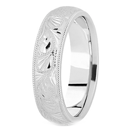 14K White Gold 6 mm Men's Diamond Cut Engraved Wedding Band