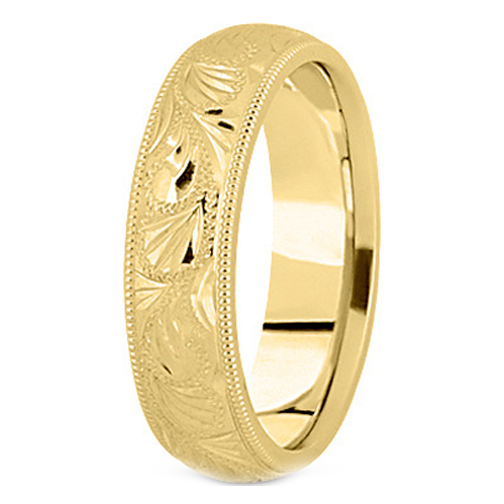 14K Yellow Gold 6 mm Men's Diamond Cut Engraved Wedding Band