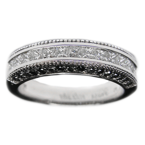 Princess Diamonds  Pave Round Black Diamonds Wedding Ring 0.97 tcw ...