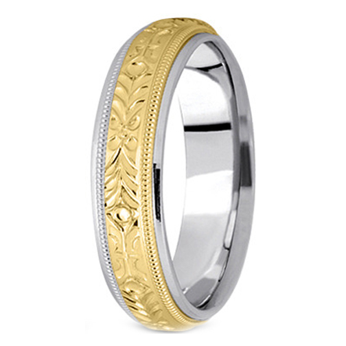 Two-Tone 14K White & Yellow Gold 5 mm Men's Engraved Milligrained Wedding  Band