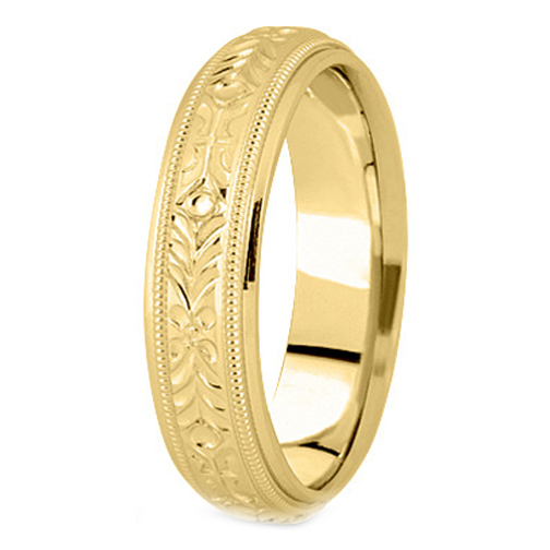 14k Yellow Gold 5 Mm Men S Milligrained Engraved Wedding Band