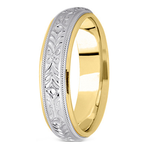 14K Yellow and White Gold 5 mm Men's Engraved Milligrained Wedding Band
