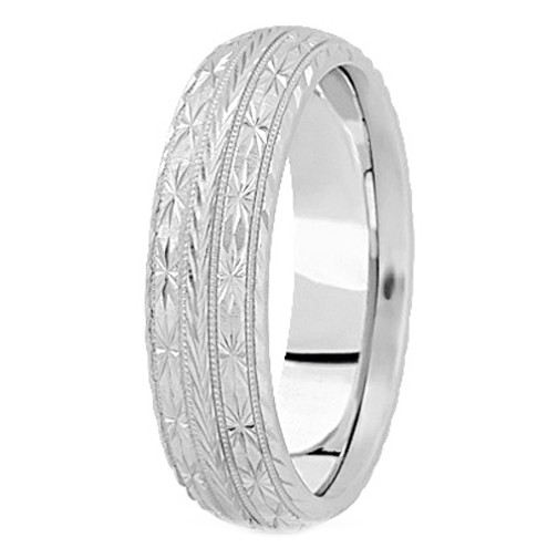 14K White Gold 7 mm Men's Diamond Cut Engraved Wedding Band