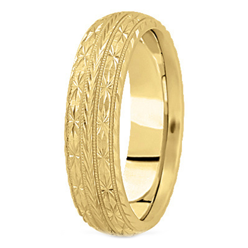 14K Yellow Gold 7 mm Men's Diamond Cut Engraved Wedding Band