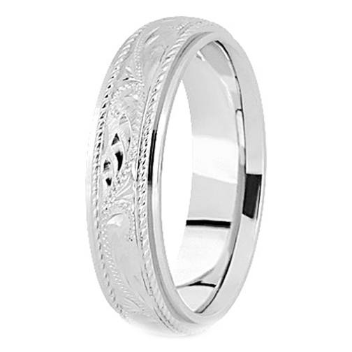 14K White Gold 5 mm Men's Roped Engraved Wedding Band