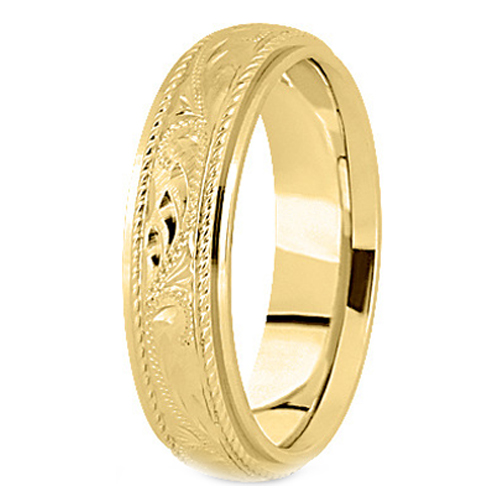 14K Yellow Gold 5 mm Men's Roped Engraved Wedding Band