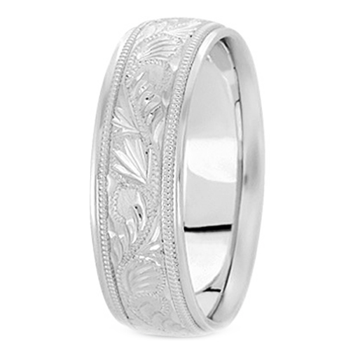 Platinum 8 mm Men's Diamond Cut Engraved Wedding Band