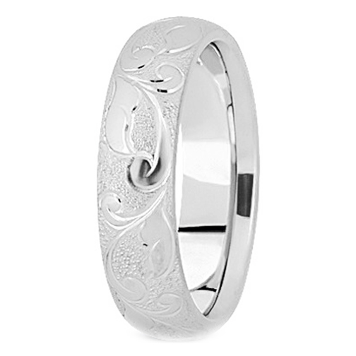 Platinum 5 mm Men's Diamond Cut Engraved Satin Wedding Band