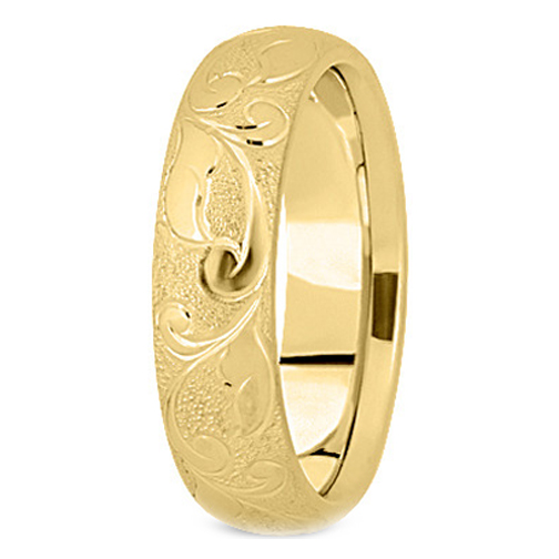 14K Yellow Gold 5 mm Men's Diamond Cut Engraved Satin Wedding Band