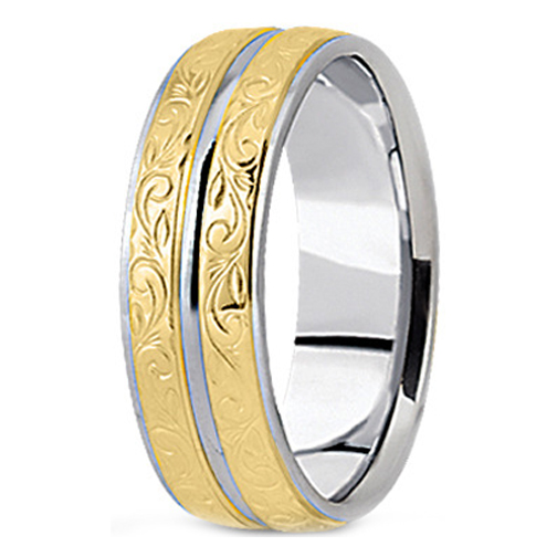 Wedding Band Two Tone 14K White Yellow Gold Antique Engraved