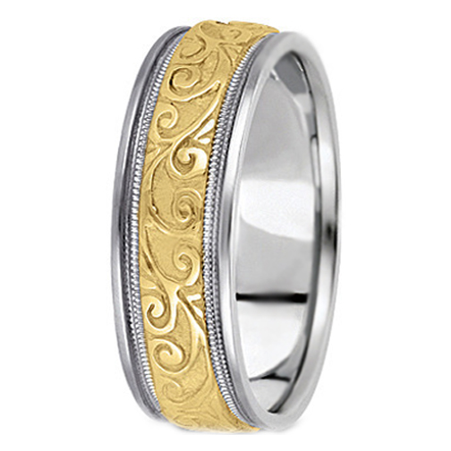 Two Tone 14K White Yellow Gold Engraved Leaves Milligrained Edges Mens Wedding Ring 65