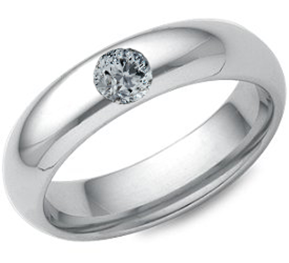 Round Diamond Wedding Band Bezel Set in 14k White Gold