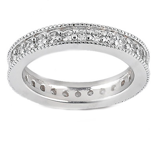 Vintage Pave Round Diamond Wedding Band with Milligrain, 0.81