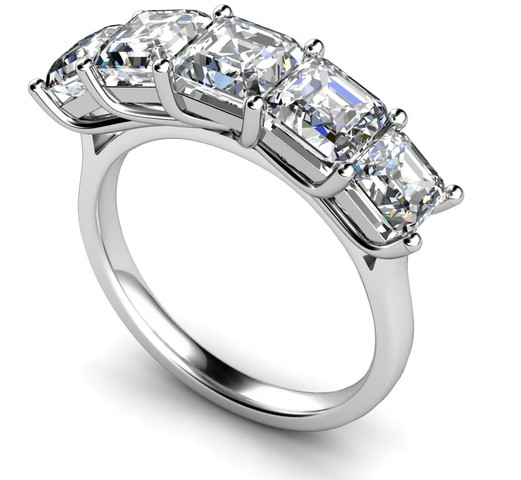 Five Stone Cher Cut Square Emerald Wedding Ring 2 5 Carat Total Weight In Platinum