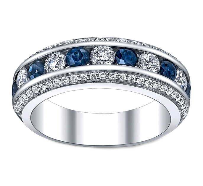 Wedding Band - Three Row Diamonds & Blue Sapphire Wedding ...