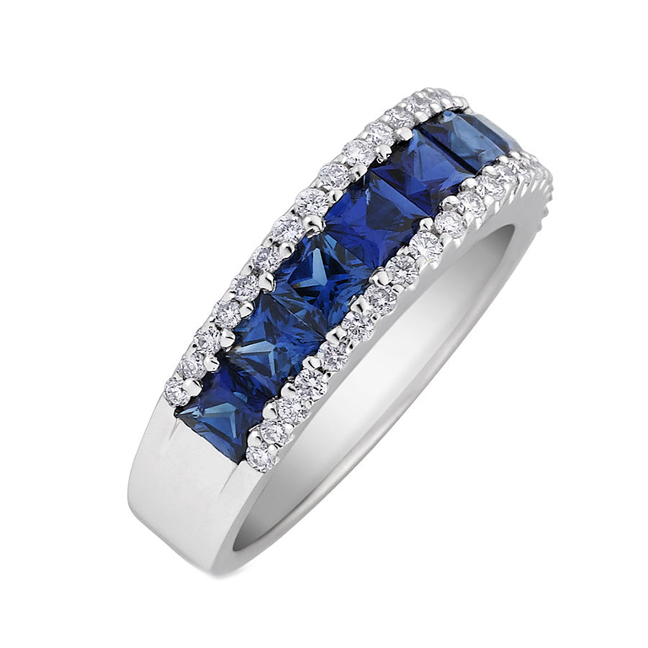 Princess Cut Blue Sapphire & Diamonds Ring 2.25 tcw in 14K White Gold