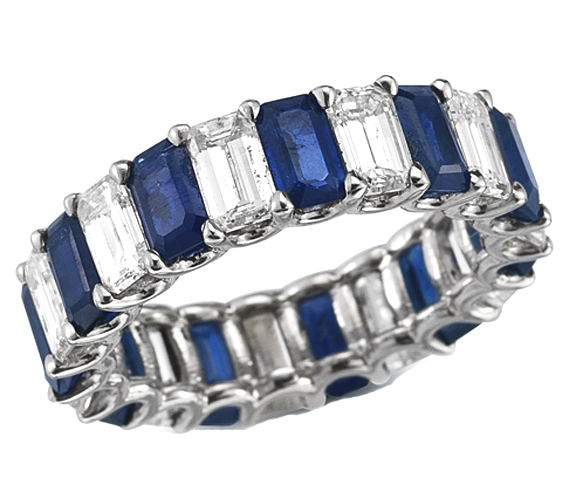 Emerald Cut Diamond & Sapphire Eternity Ring in 14K White Gold