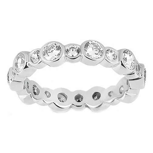 Garland Diamond Bezel Eternity Wedding Ring 1.60 Carat in Platinum
