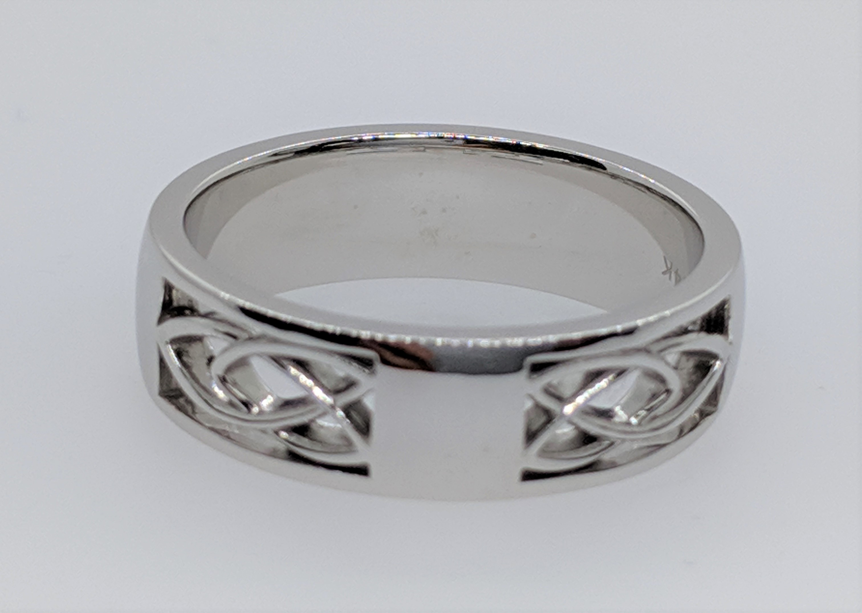 Wedding Band - Celtic Wedding Band 14k white gold, 5mm wide