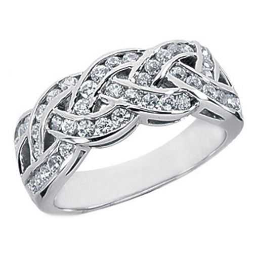 Round Diamond Channel Set Intertwined Wedding Band