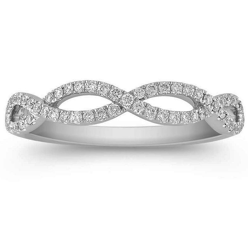 Wedding Band Infinity Diamond Ring 0 27 tcw in 14K White Gold