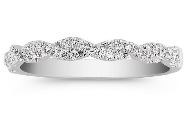 Infinity Pave Diamonds Wedding Ring in 14K White Gold