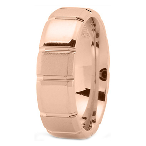 14K Rose Gold 7 mm Men's Section Wedding Ring