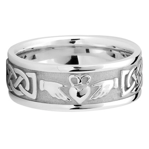 Men S Celtic Claddagh Wedding Ring 8 Mm 14k White Gold