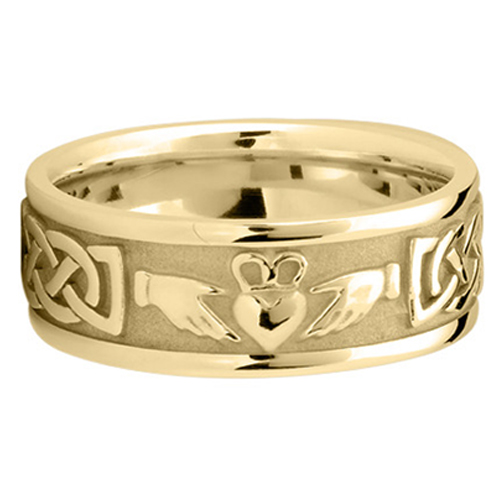 Mens Celtic Claddagh Wedding Ring 8 Mm 18K Yellow Gold