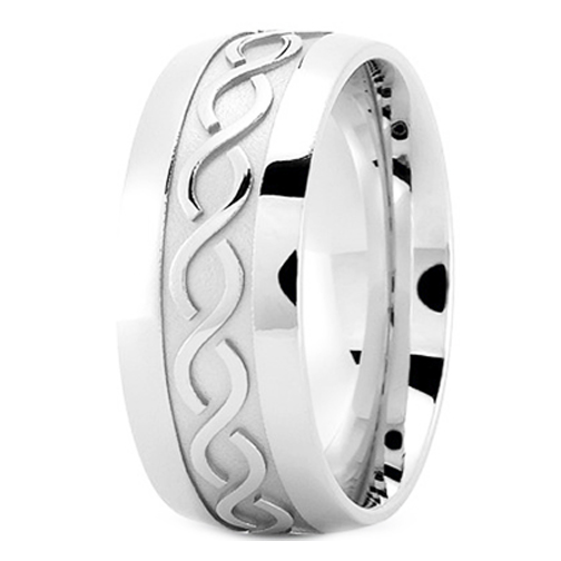Men's Infinity Engraved Wedding Ring 9 mm Platinum