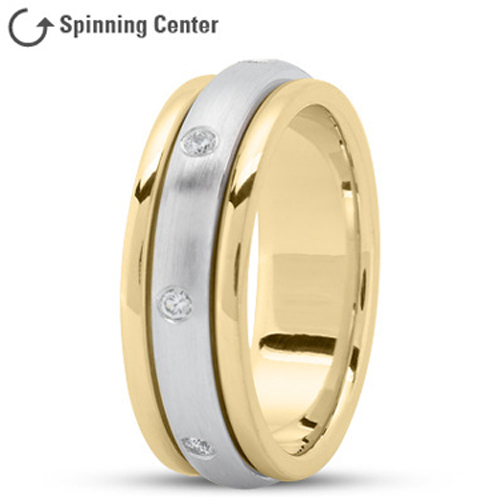 Spinning Diamond Prayer Ring in 18K Yellow and White Gold 0.16 tcw.