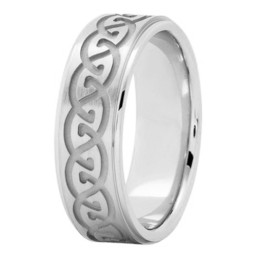 Men's Infinity Engraved Wedding Ring 7 mm 14K White Gold