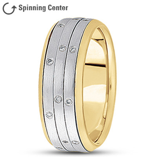Three Row Diamond Spinning  Prayer Ring in 18K Two Tone Gold 0.24 tcw.