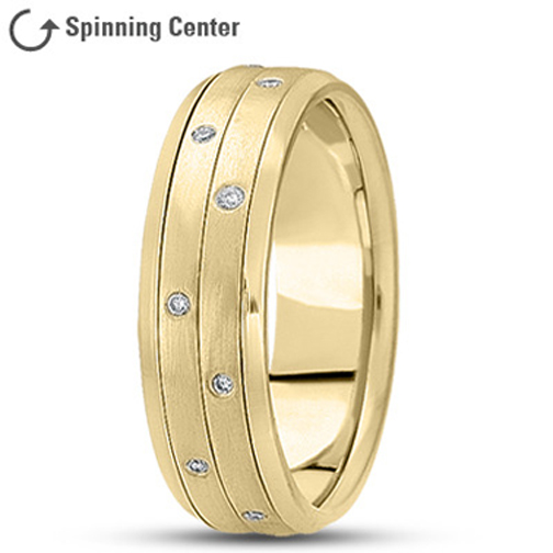 Two Row Spinning Diamond Worry Ring in 18K Yellow Gold 0.16 tcw.