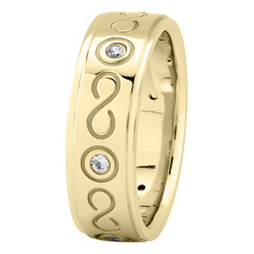 Diamond Infinity Wedding Ring in Yellow Gold 0.18 tcw.