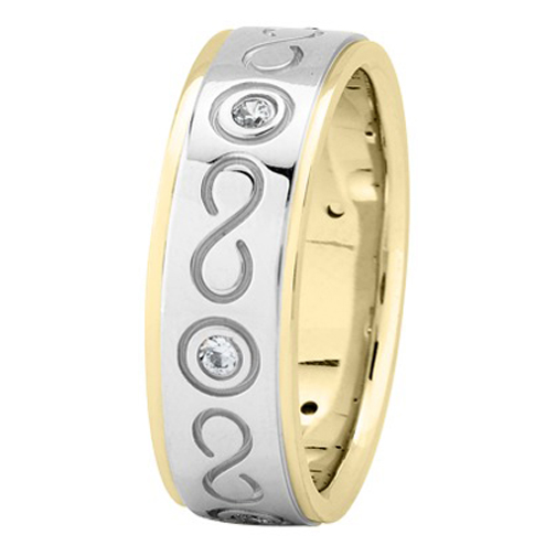 Diamond Infinity Wedding Ring in Yellow and White Gold 0.18 tcw.