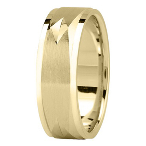 7 mm Men's Diamond Cut Engraved Square Wedding Band in 18K Yellow Gold