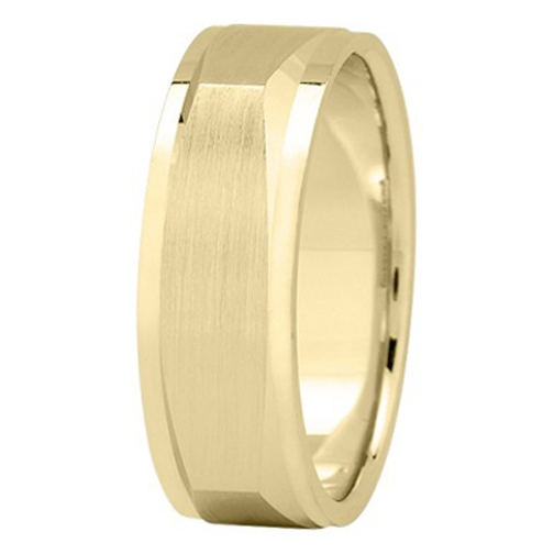 7 mm Men's Satin Square Wedding Band in 18K Yellow Gold
