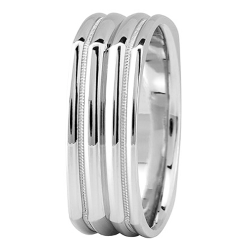 7 mm Men's Milligrain Square Wedding Band in 14K White Gold