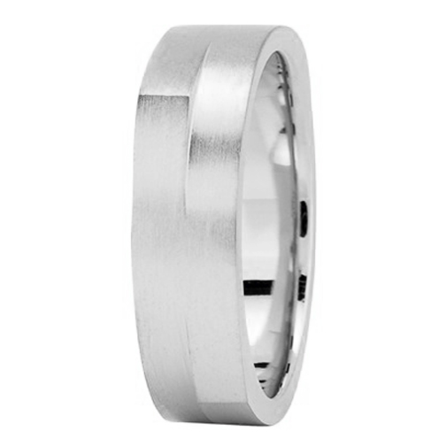 6mm Square and Round Men's Wedding Ring in White Gold